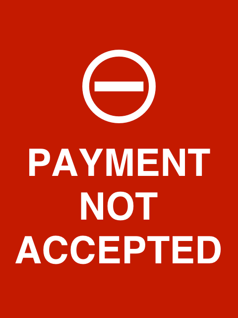 Red payment not accepted screen