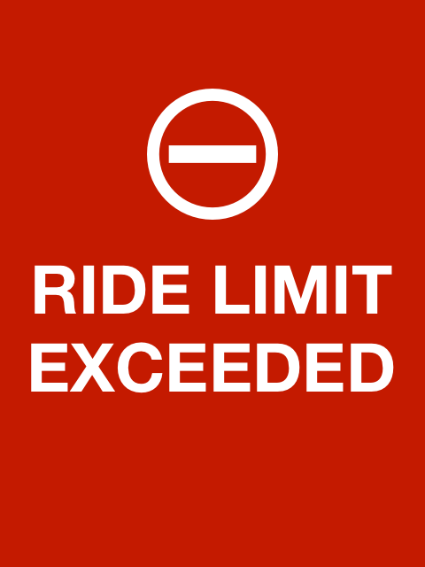 Red ride limit exceeded screen
