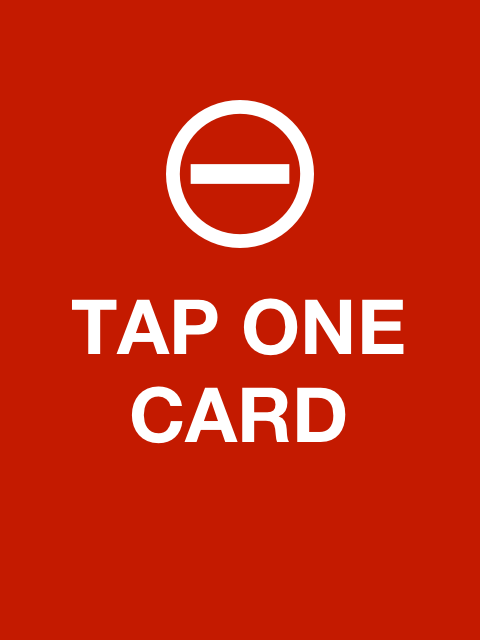 Red tap one card screen